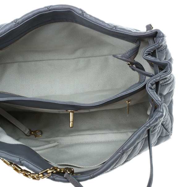 Chanel Grey Leather Quilted Shopper Tote