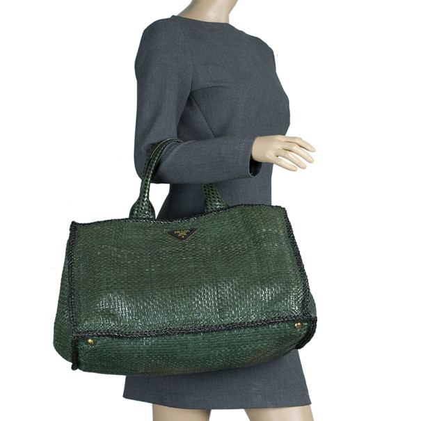Prada Green Baltic Woven Leather Madras Squared Tote