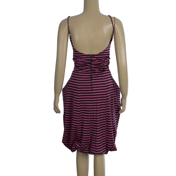 Prada Striped Strapless Dress M