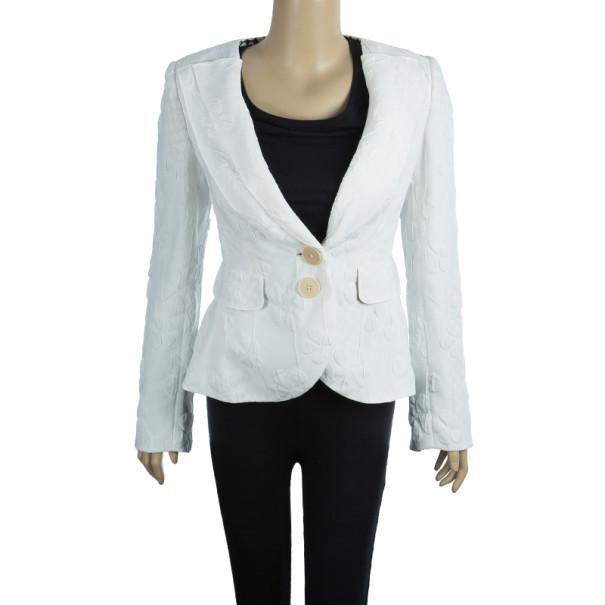 Emporio Armani White Floral Textured Jacket S