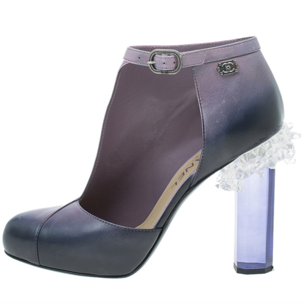 Chanel Purple Ombre Leather Crystal Lucite Heel Cutout Ankle Booties Size 37.5