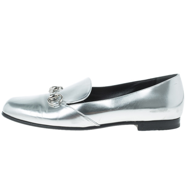 Gucci Silver Metallic Leather Horsebit Loafers Size 37.5