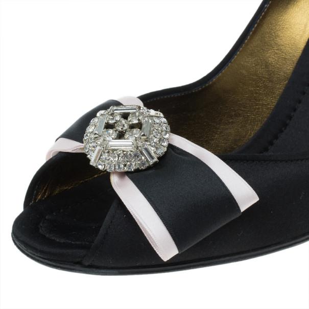 Dolce and Gabbana Black Satin Embellished Peep Toe Pumps Size 38