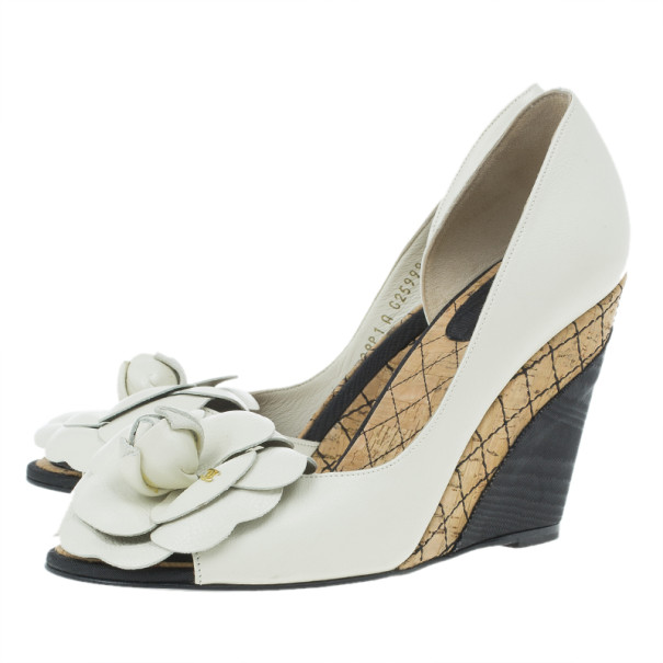 Chanel White Leather Camellia D'orsay Wedges Size 37