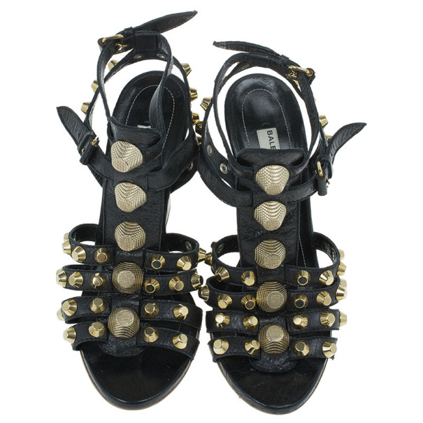 Balenciaga Black Arena Giant Gladiator Wedge Sandals Size 38
