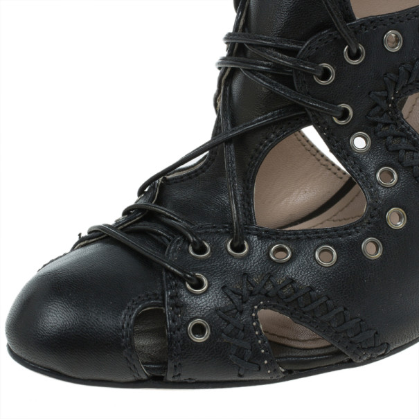 Miu Miu Black Leather Embellished Cutout Ankle Booties Size 37.5