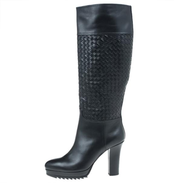 Bottega Veneta Black Leather Intrecciato Platform Knee Boots Size 40