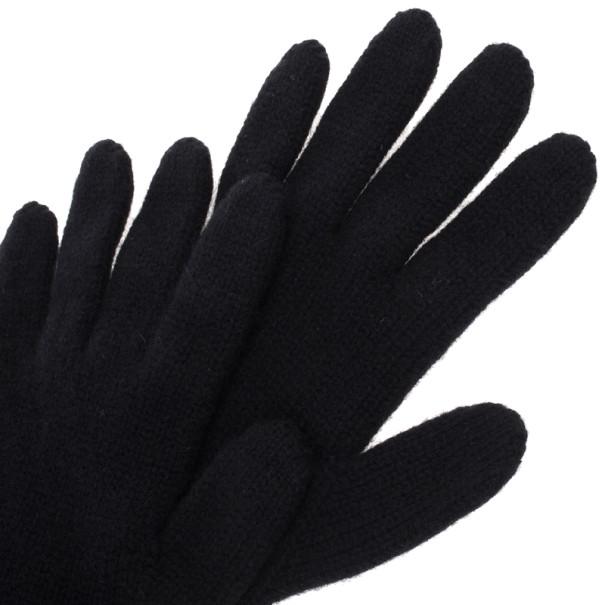 Giorgio Armani Black Cashmere Gloves M