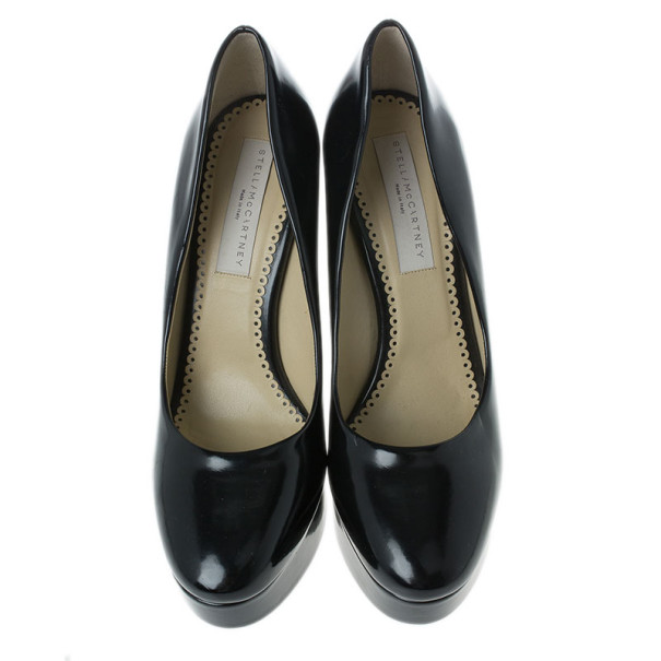 Stella McCartney Black Leather Corinne Platform Pumps Size 39