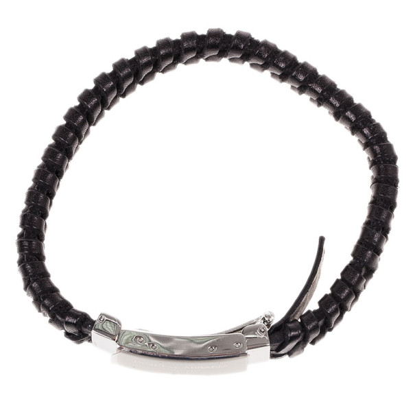 Dolce & Gabbana Black Woven Leather Plaque Bracelet L