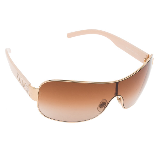 Dolce and Gabbana Beige Crystal Temple Sunglasses
