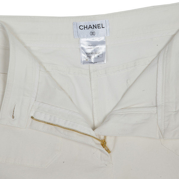 Chanel Off-white Wide-leg Trousers M