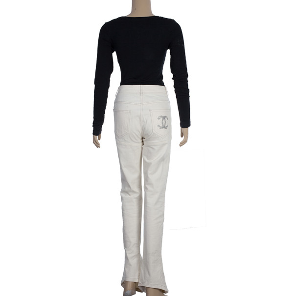 Chanel White Trousers With Embroidered Back Pocket Detail S