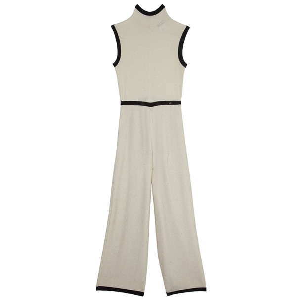 Chanel Cream Turtleneck Jumpsuit S