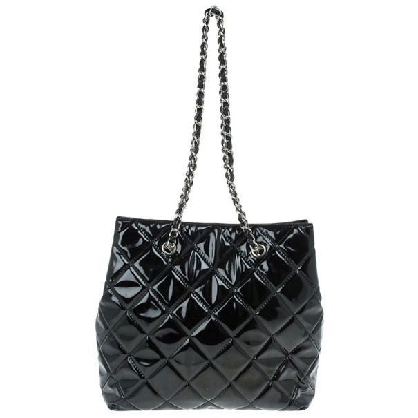 Chanel Black Patent Leather Quilted Large Tall Classic Tote