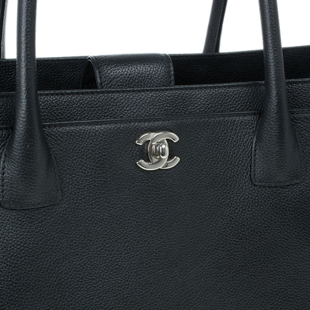 Chanel Black Jumbo Black Caviar Leather Executive Cerf Tote