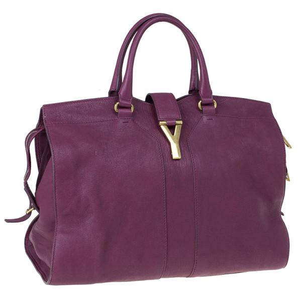 Saint Laurent Paris Purple Leather Cabas Chyc Satchel