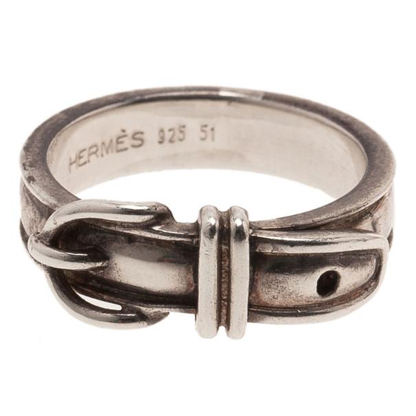 Hermes Vintage Silver Ring Size 51
