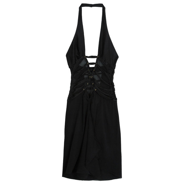 Tom Ford for Gucci Black Silk Corset Bodice Halter Dress M