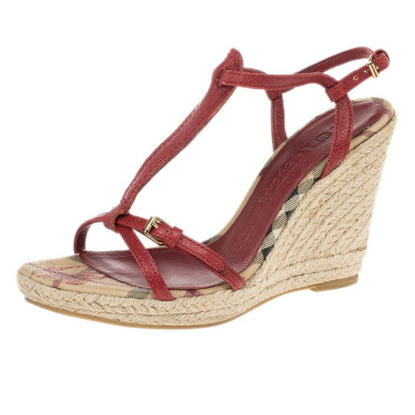 Burberry Red Leather Novacheck T Strap Espadrilles Wedges Size 37