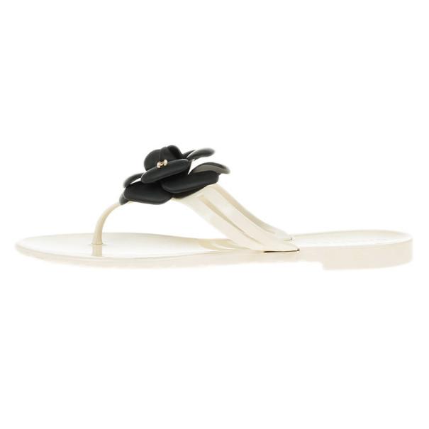 Chanel Camellia Flower Jelly Thong Sandals Size 37