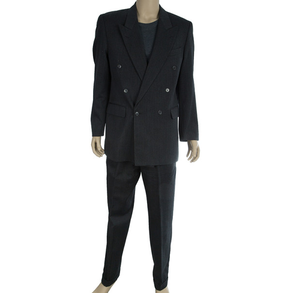Saint Laurent Paris Double Breasted Charcoal Men's Suit EU52