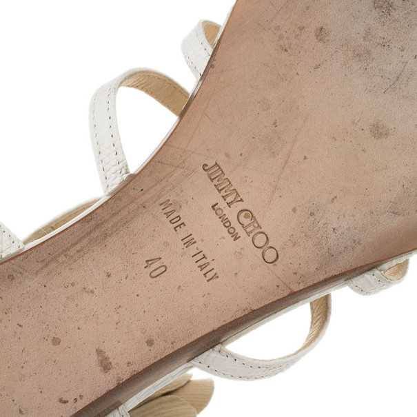 Jimmy Choo Cream Leather 'Oxide' Gladiator Sandals Size 40