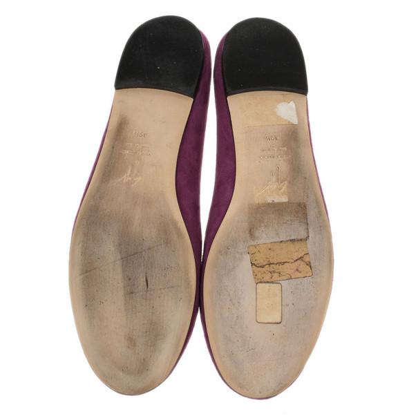 Giuseppe Zanotti Magenta Suede Crystal Skull Ballet Flats Size 39.5