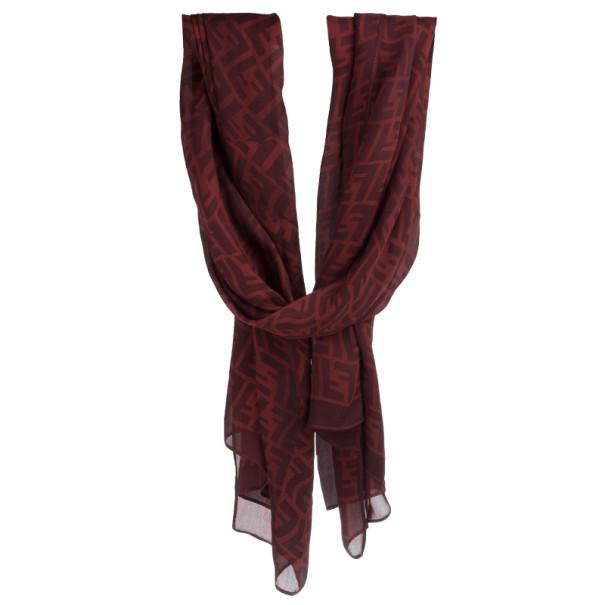 Fendi Red Zucca Silk Stole