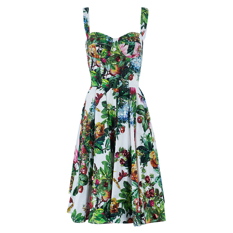 Dolce and Gabbana Floral Printed Flare Dress S