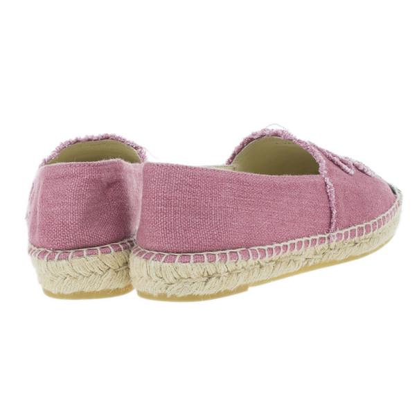 Chanel Pink Canvas CC Espadrilles Size 41