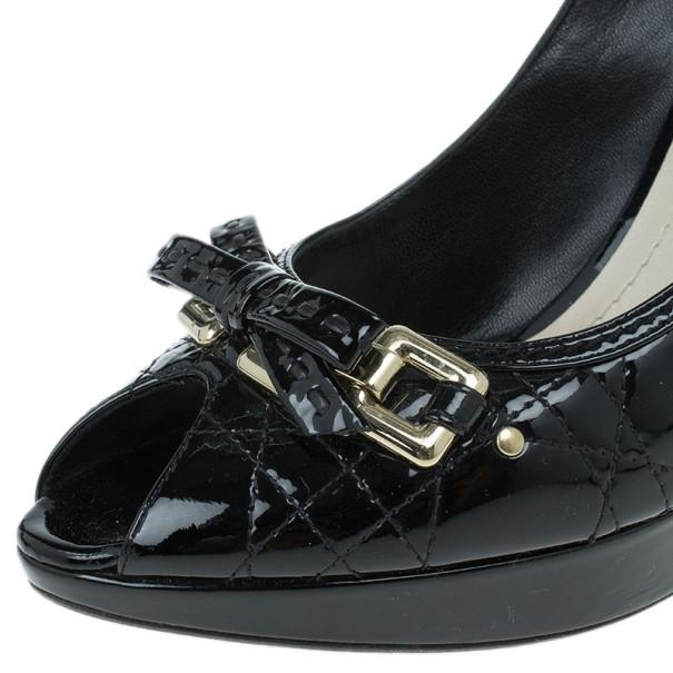Dior Black Patent Cannage Peep Toe Platform Pumps Size 40