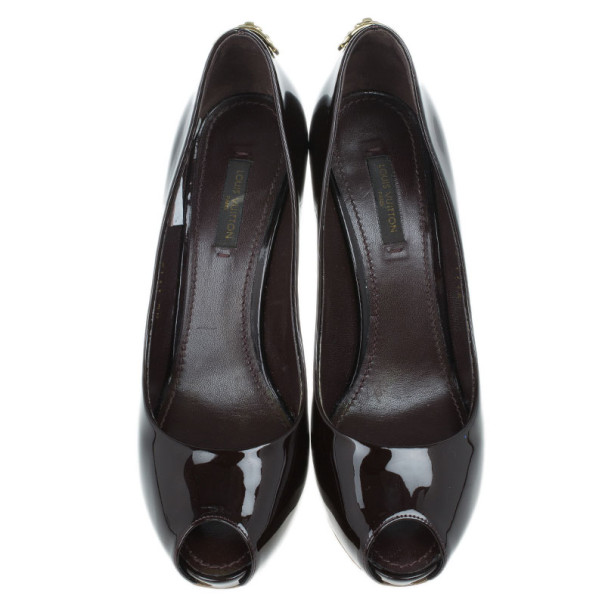 Louis Vuitton Amarante Patent Oh Really! Peep Toe Pumps Size 37