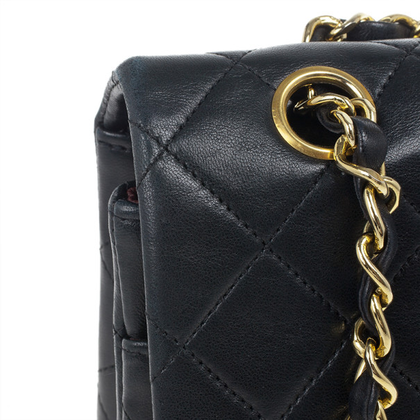 Chanel Black Classic Lambskin Small Double Flap Shoulder Bag