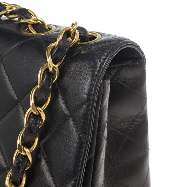 Chanel Black Lambskin Jumbo Classic Single Flap Shoulder Bag