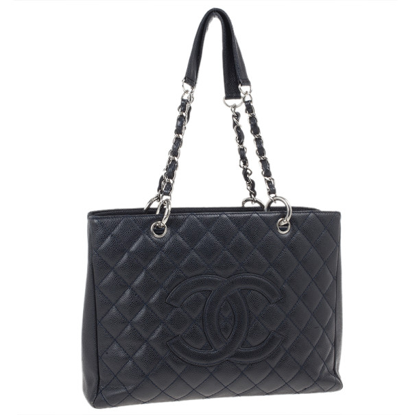 Chanel Navy Blue Caviar Grand Shopper Tote