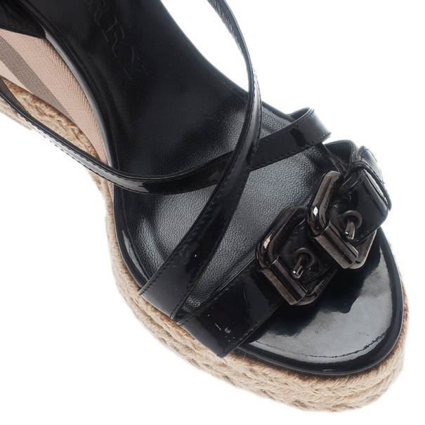 Burberry Black Patent Check Espadrilles Wedge Sandals Size 38