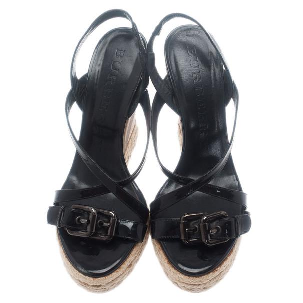 Burberry Black Patent Check Espadrilles Wedge Sandals Size 38