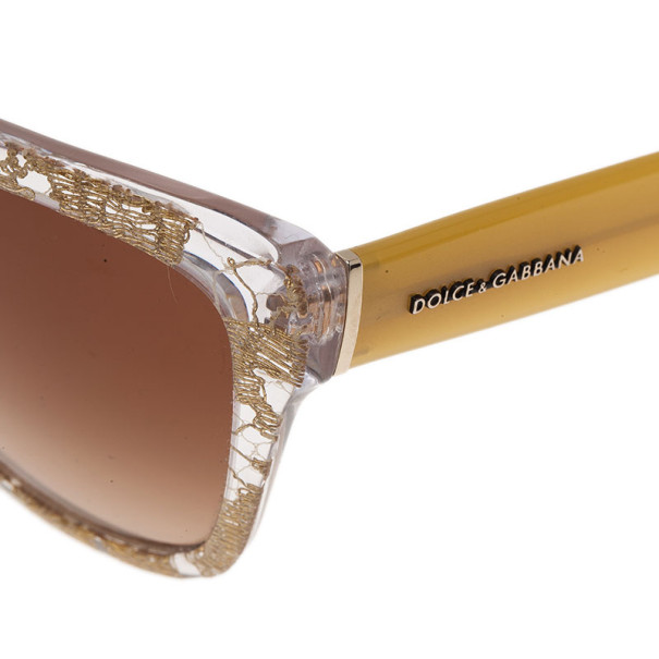 Dolce and Gabbana Gold Lace Cat Eye Sunglasses