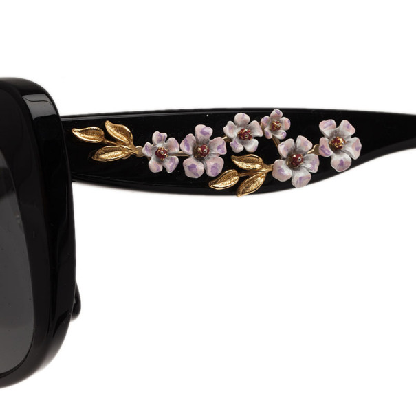 Dolce and Gabbana Black Almond Flowers Cat Eye Sunglasses