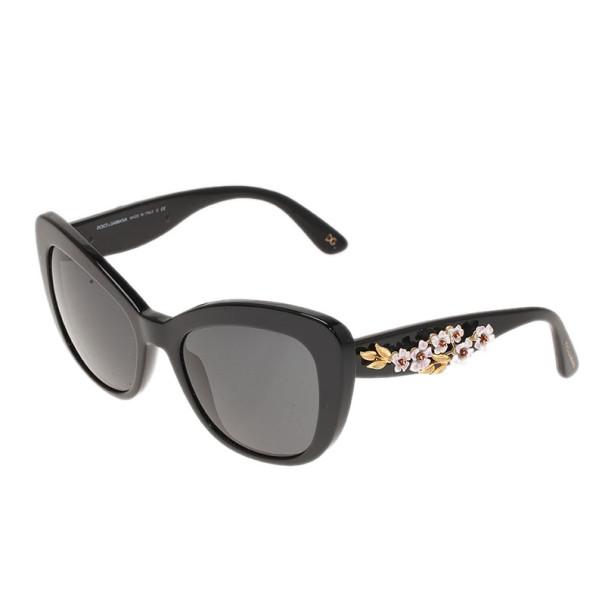 Dolce and Gabbana Black Almond Flowers Cat Eye Sunglasses