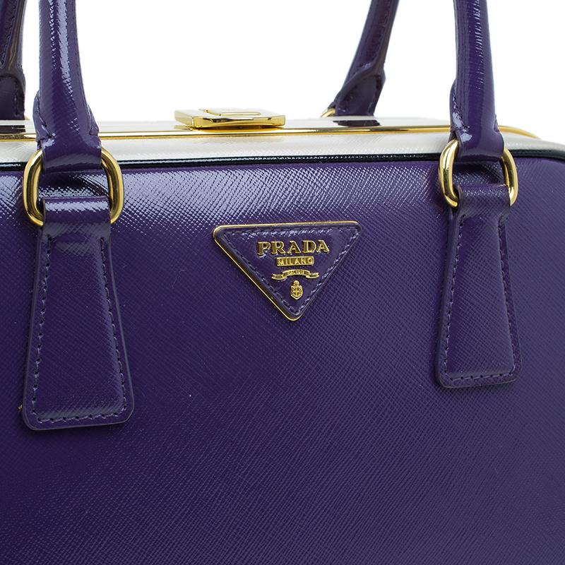 Prada Purple/Cream Saffiano Lux Leather Frame Top Handle Bag