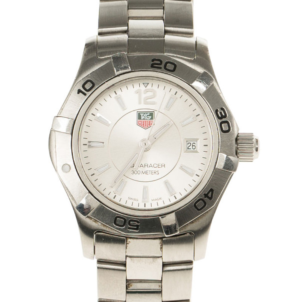Tag Heuer White Stainless Steel Aquaracer Women's Wristwatch 29MM