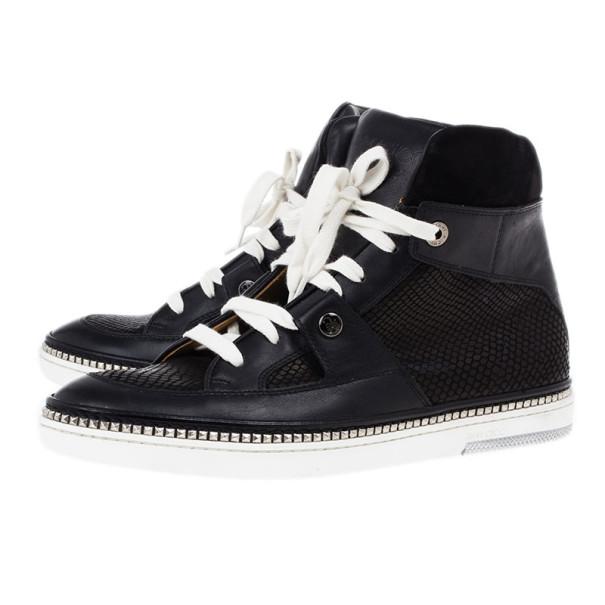 Jimmy Choo Black Viper Print Leather High Top Sneakers Size 42