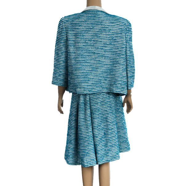 Chanel Blue Tweed Skirt Suit L