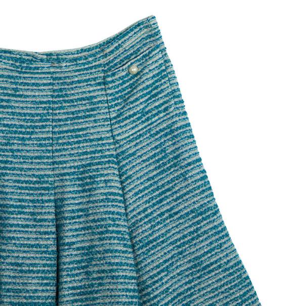 Chanel Blue Tweed Skirt Suit L