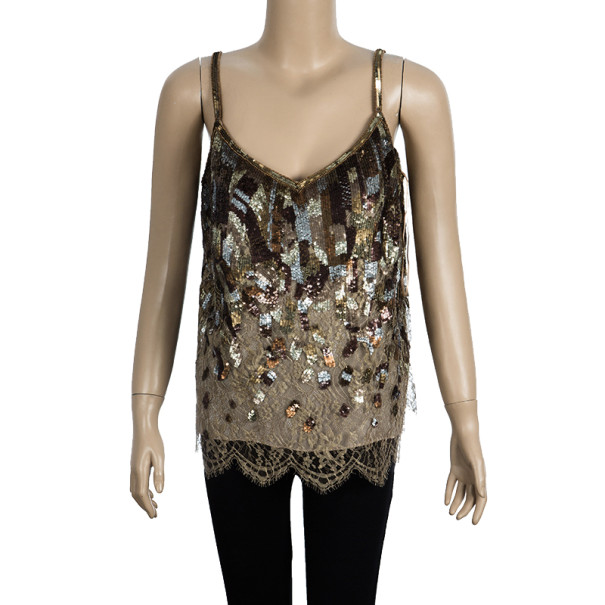 Escada Embellished Strapless Top M