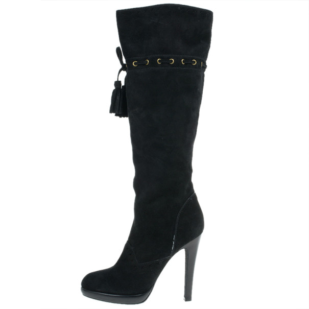 Saint Laurent Paris Black Suede Chelsea Tassel Knee Boots Size 40