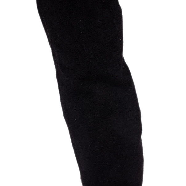 Stella McCartney Black Patent Leather and Suede Over The Knee Boots Size 37.5