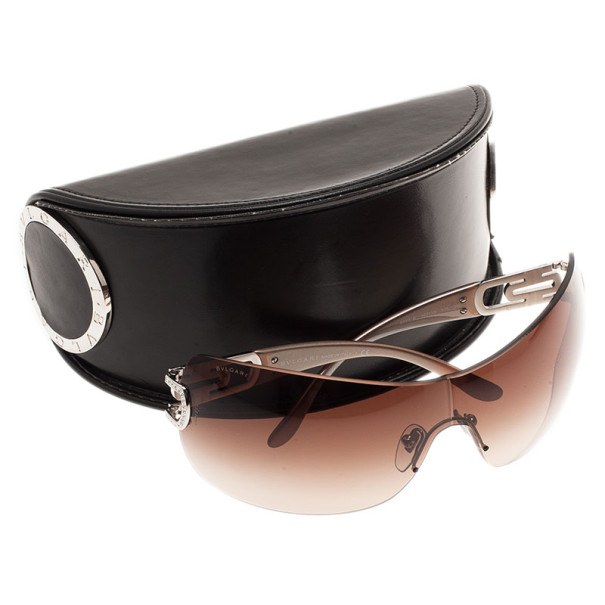 Bvlgari Brown 6023B Strass Edge Shield Sunglasses